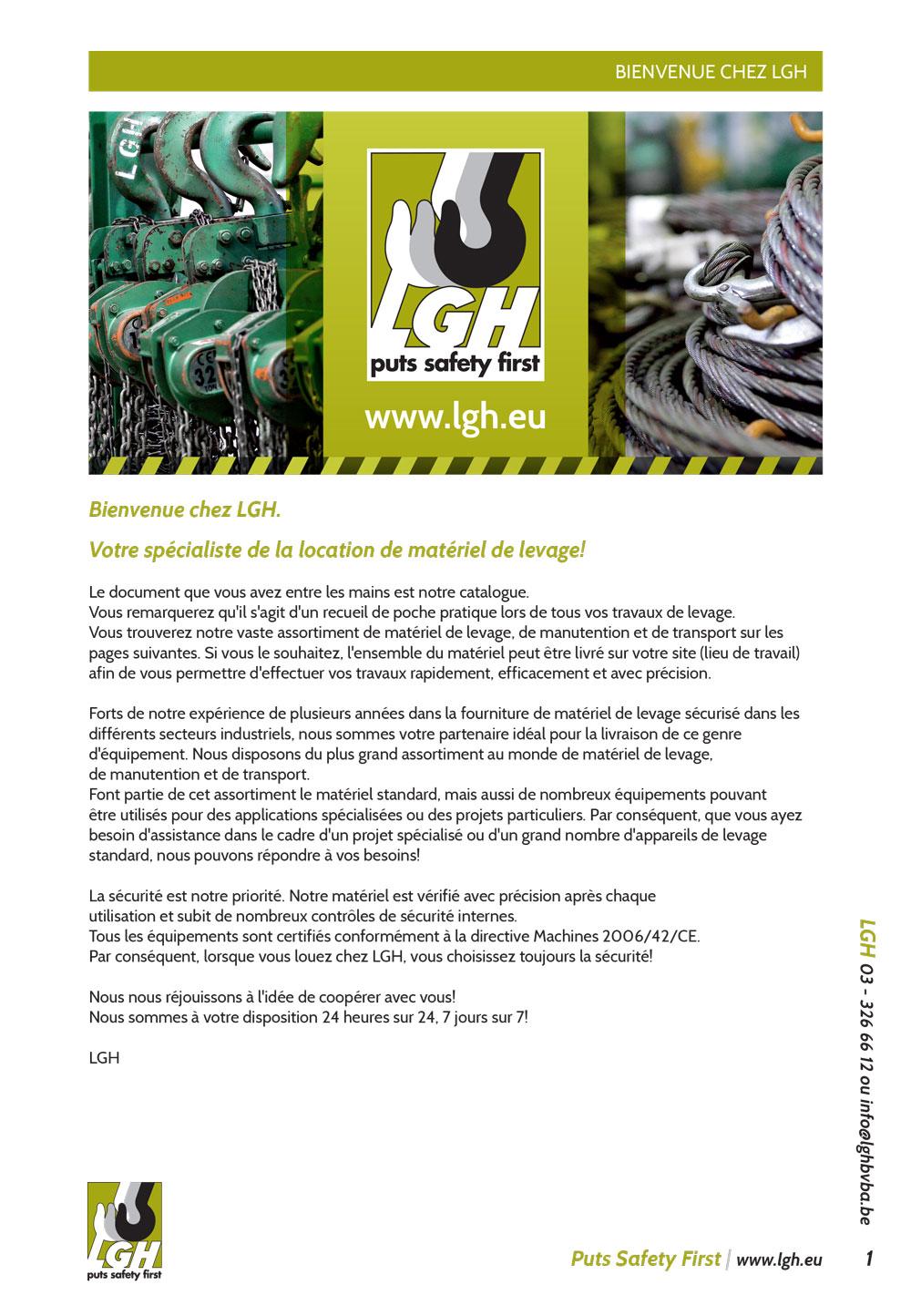 Page de couverture–Catalogue matériel de levage LGH